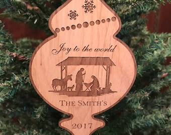 Personalized Family Ornament, Custom Family Christmas Ornament, Engraved Wooden Ornament, Family Ornament Christmas Gift, Joy to the World