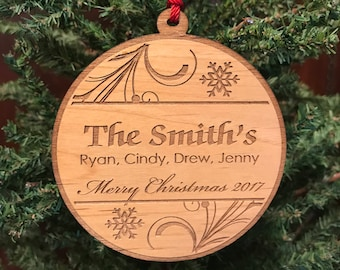 Personalized Family Ornament, Custom Family Christmas Ornament, Engraved Wooden Ornament, Family Ornament Christmas Gift