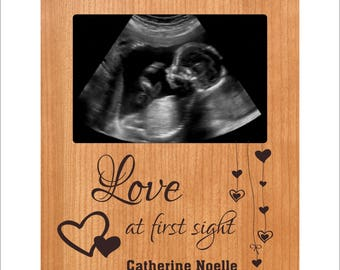 """Personalized Baby Frame, Custom Ultrasound Photo Frame, """"Love at First Sight"""", Baby Gift, Baby Shower Gift, Baby 4 x 6 Frame"""