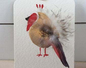 Bird tags with feathers, hand-made, gift tag