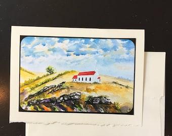 Prairie Church, California Landscape, Greeting Card