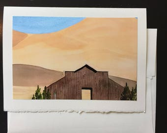 Tres Pinos Barn, California Greeting Card