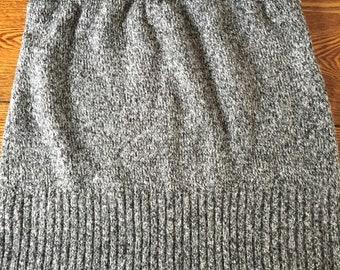 100 percent cotton knitted heathered gray mini skirt repurposed garment