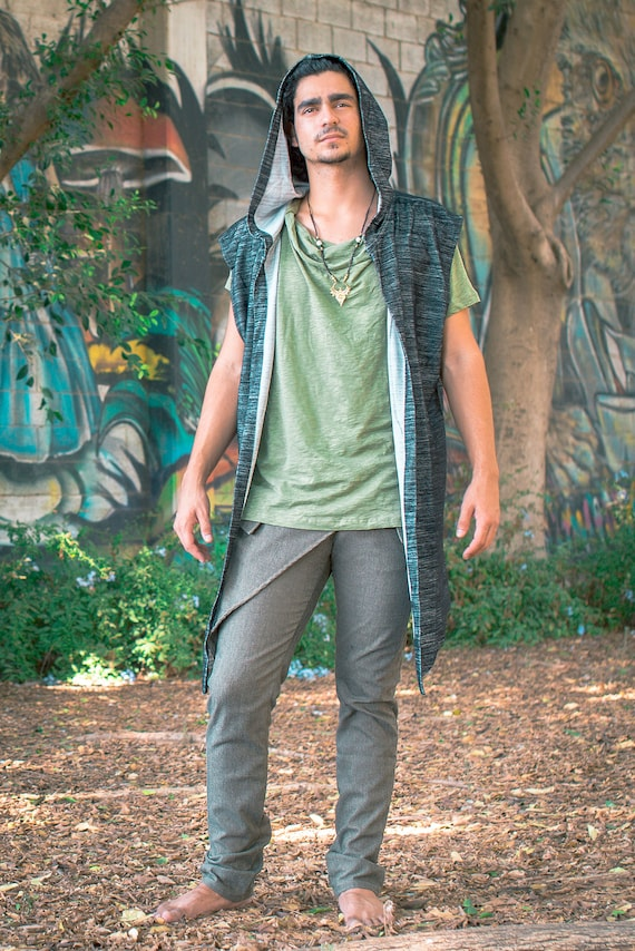 Men's Vest Tribal Hoodie, Boho-Chic Style, Steampunk Style, Festival Vest, 100% Cotton!