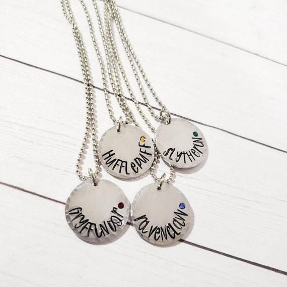 Harry Potter Charm Necklace Crystal Beads Gryffindor Hufflepuff Slytherin