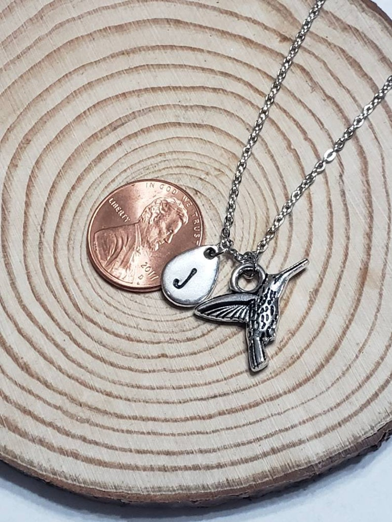 Silver or Copper Hummingbird Necklace with Initial