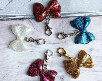Glitter Bow Charm, TN Charm, Traveler's Notebook Charm