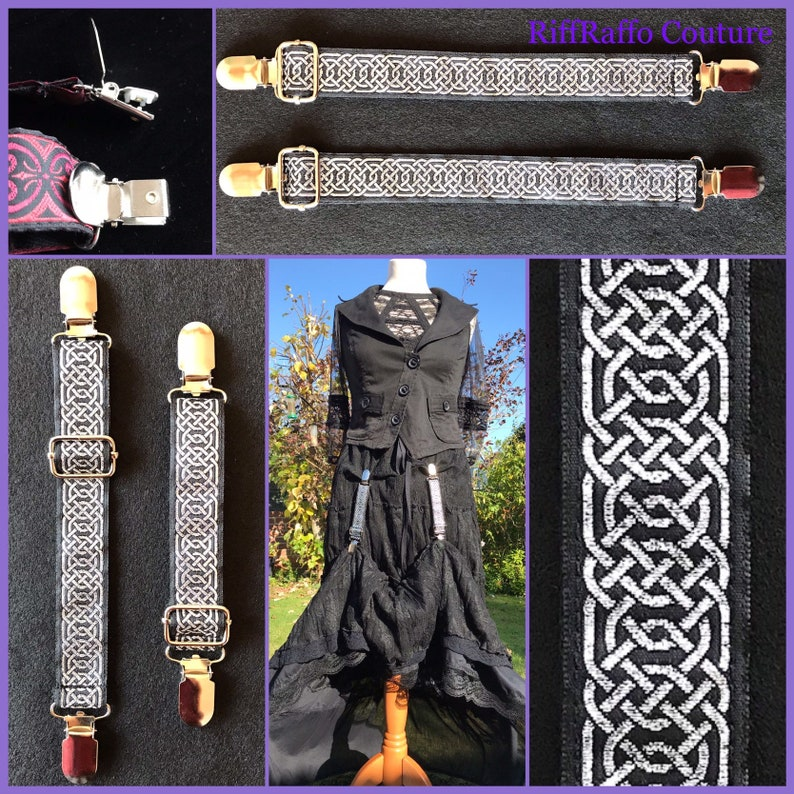 Skirt Hiker Clips  Silver Black Celtic Lifters for Steampunk image 0