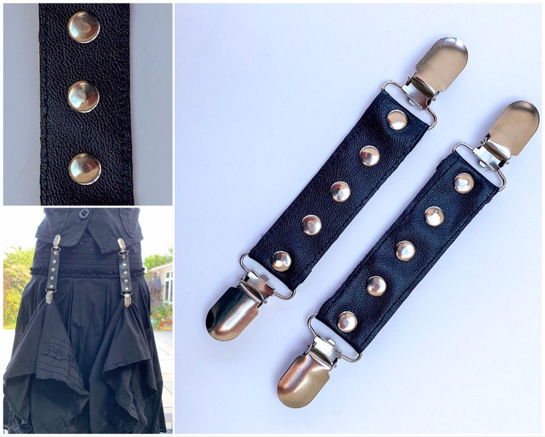 Skirt Hike Hitch Clips  Black Faux Leather Studded Lifters image 0