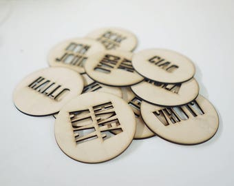 Laser Cut Languages of the World Coasters - Set of 6