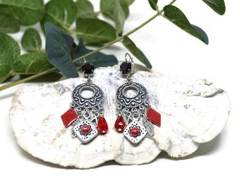 Earrings, red, Swarovski Crystal and Czech glass
