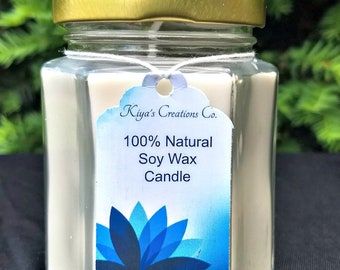 6 oz.  Soy Wax Hexagon Container Candle - Unscented- 100% Soy Wax