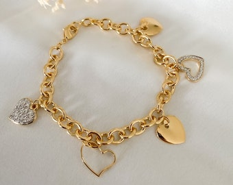 Women's big mesh and heart bracelet