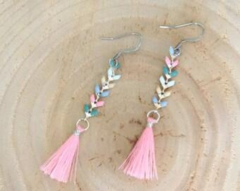 earrings, pendant, chain of ear, silver, pastel, pompom, woman