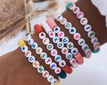 Personalised heishi beads bracelet for women
