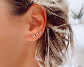 Women's gold-plated bay leaf earrings