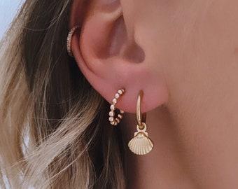Mini Creole earrings in stainless steel shell for women