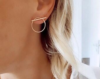 Geometric gold-plated earrings for women