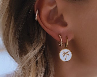 Mini creoles palm earrings made of stainless steel for women