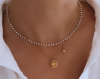 Double chain star necklace in stainless steel for women