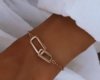 Gold-plated interlaced link bracelet for women