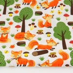 Printed graphic green FOXES, 100% orange pattern cotton fabric, sold in 50 x 150 cm
