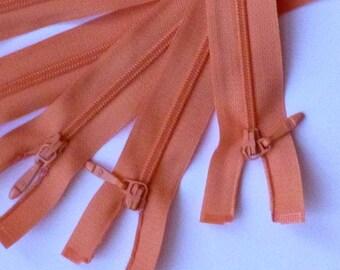Zip - zipper 60 cm - apricot, orange