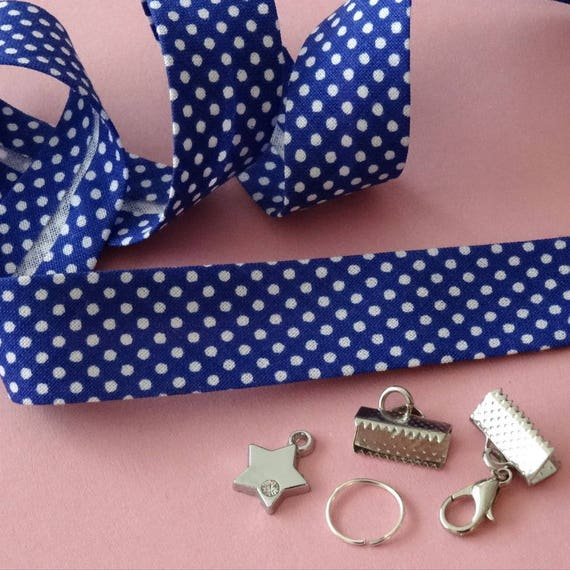 kit pour fabriquer 1 bracelet en tissu breloque fermoir etsy. Black Bedroom Furniture Sets. Home Design Ideas