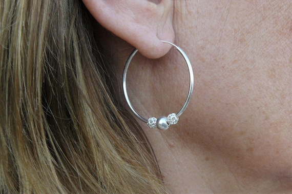 REF51126 PAIR OF EARRINGS SOLID SILVER CREOLE