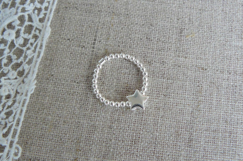 solid silver smooth beads for women silver elastic ring silver star