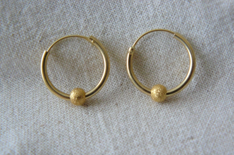 Creole earrings with 925 solid silver beads plated gold 14K
