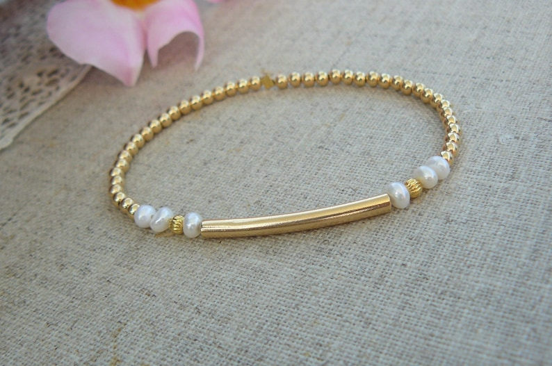 2 925 gold-plated solid silver elastic bracelets with smooth beads gold rush streaked pearls and pearly freshwater pearls