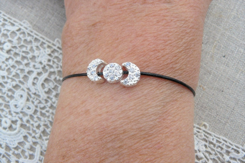 black leather cord Bolo bracelet with three solid silver passers with women/'s Zircons for girls