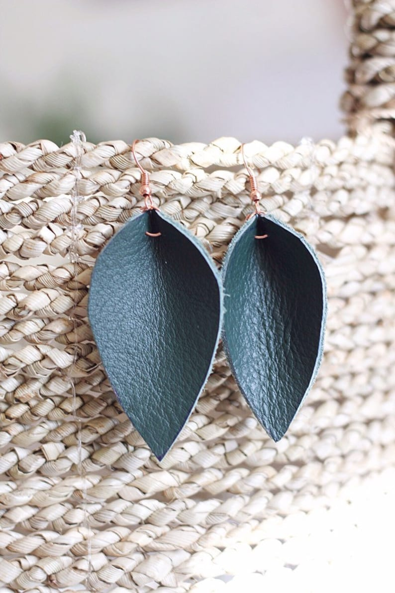 Upcycled Leather Leaf Earrings // upcycled image 0