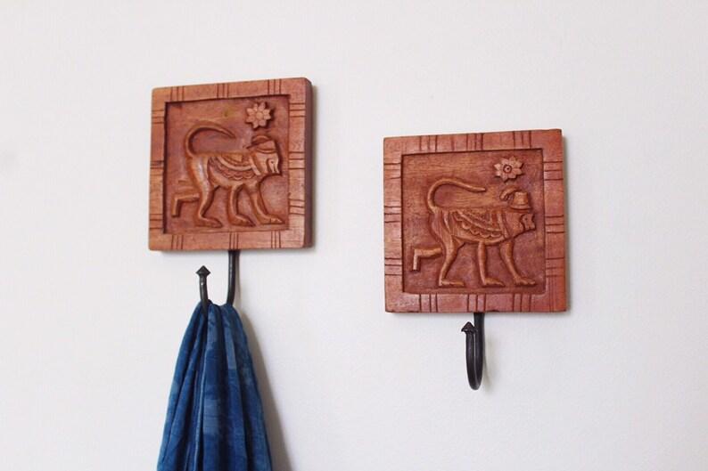 Vintage Wooden Wall Hooks // vintage wood monkeys wall image 0