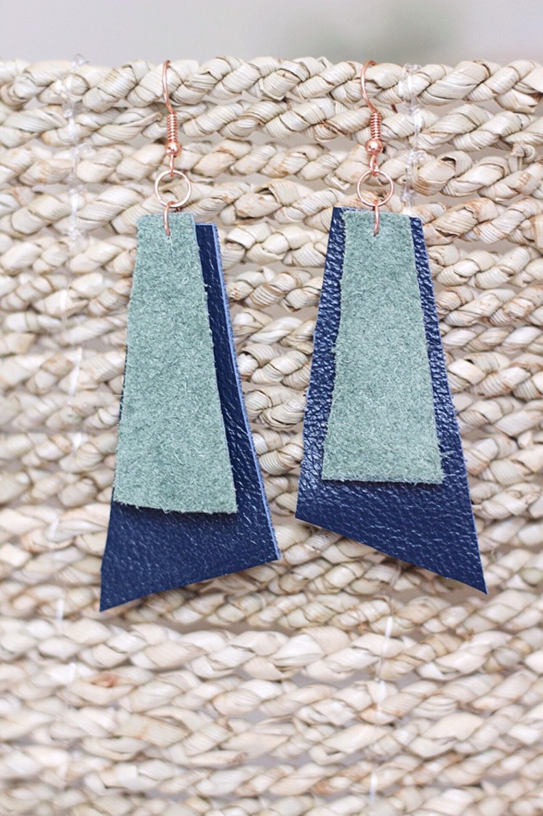 Upcycled Leather Abstract Earrings // handmade upcycled image 0