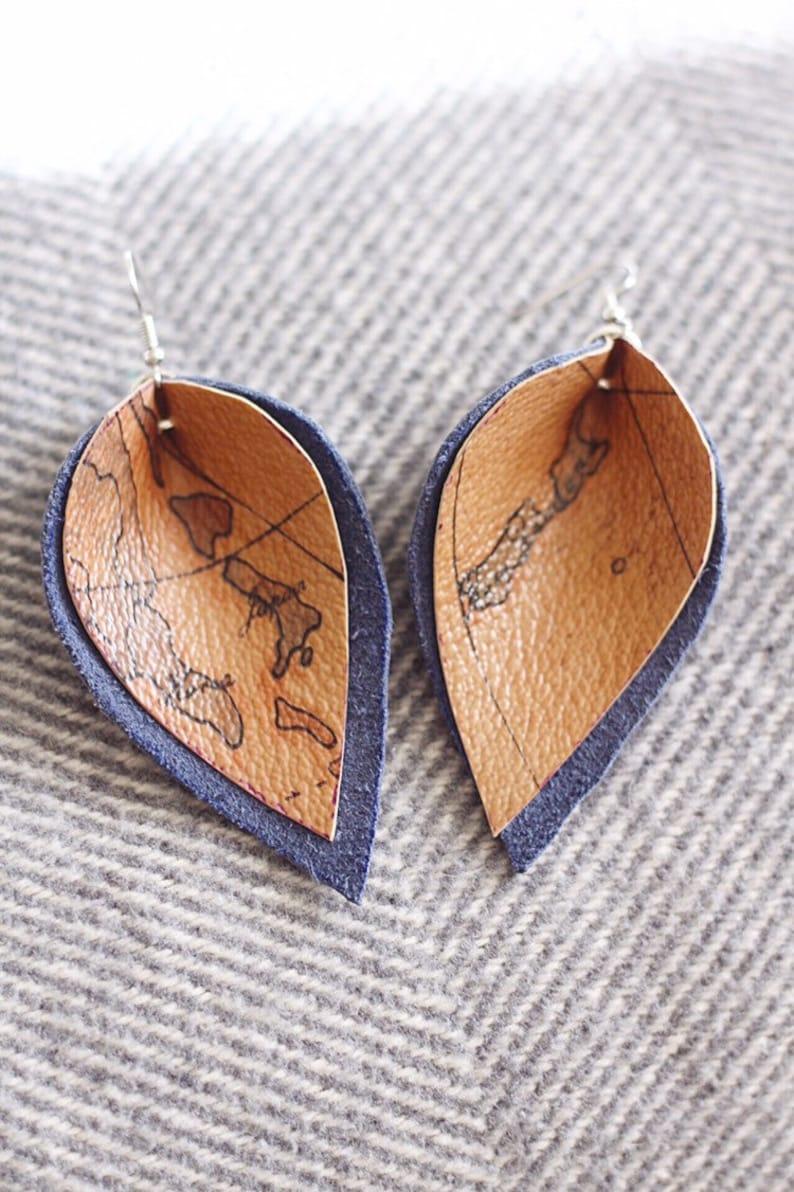 Upcycled Leather Leaf Earrings // upcycled image 0