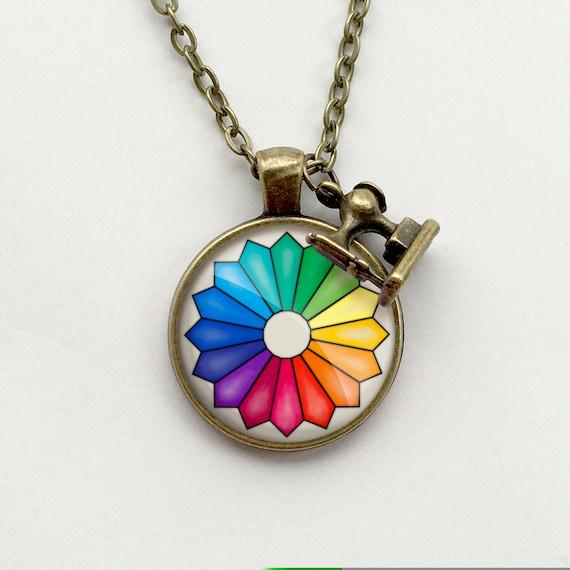 CMYK Graphic Design Artist Color Wheel Printing Charm Pendant Necklace w// Chain