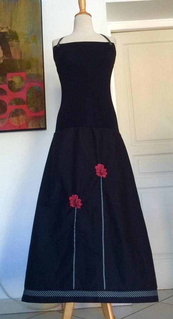 Robe bustier  longue / Jupe longue Satin de coton Noir jersey Noir Coquelicots Framboise