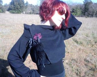 Bolero fleece black plum embroidery / lace/feather satin /Ruban