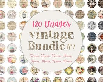 "Bundle printable digital collage cabochon images ""Vintage, paris, perfum, clock, paper, card, bird, coffee""- Instant Download"