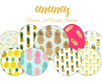"""Cabochons collage sheet / digital """"Pineapple, summer, yellow, tropical fruit"""" round and oval"""