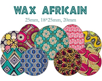 """Cabochons collage sheet / digital """"African, Africa, fabrics, boubou"""" round and oval"""