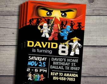 Lego Ninjago Invitation, Lego Niinjago Birthday Invidation, Lego Ninjago Birthday Party Invite, Lego Ninjago Printable