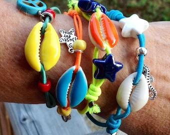 Elasicated cowrie shell bracelet