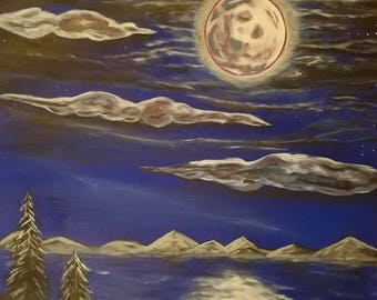 Blue Moon 16x20 Original Acrylic Painting Original Art Full Moon Landscape Water Clouds Trees