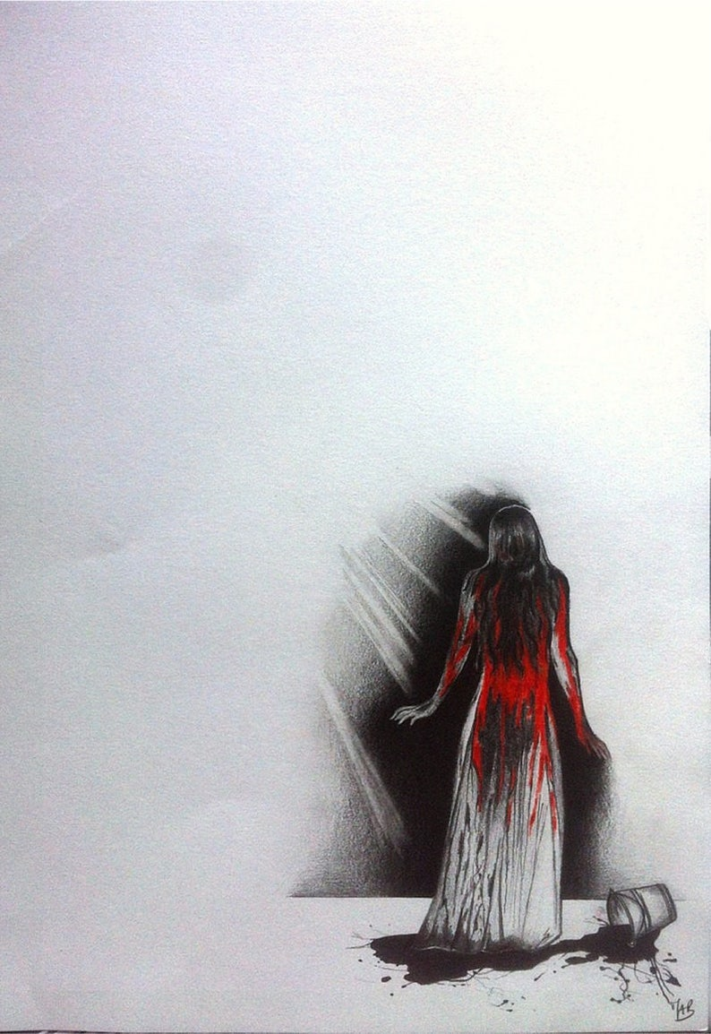 CARRIE: Drawing inspiration from the artwork of Stephen King. Small drawing in the graphite and red colored pencil. 30cmx40cm