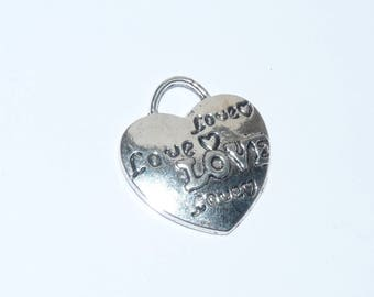 Charm Jewelry Silver charm 20mm heart shape