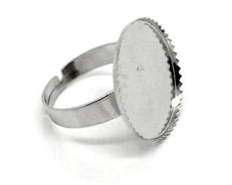 Adjustable ring with silver tray for CABOCHON 20 MM