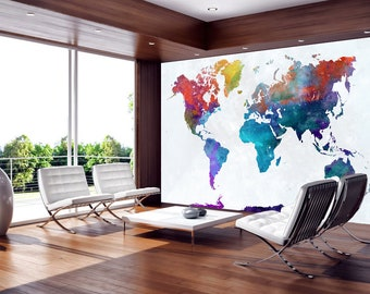 World map wall mural etsy abstract world map wall mural woven fabric self adhesive wall art decal graphic wallpaper stickers bedroom not vinyl m30 gumiabroncs Image collections